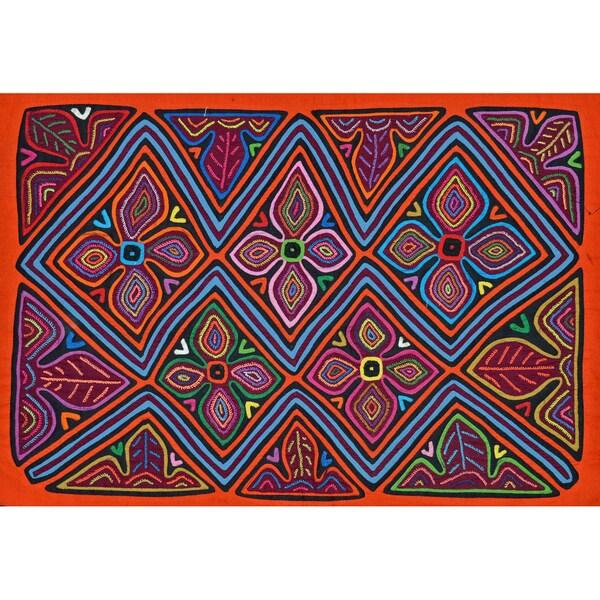 'Flowers and Leaves' Mola - Textile Art (Panama)