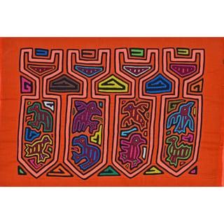 'Neon Bird Nest' Mola - Textile Art (Panama)