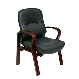 Office Star Products Work Smart Black Eco Leather Visitor's Chair