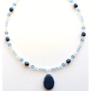 Sterling Silver Cool Water Lapis Necklace