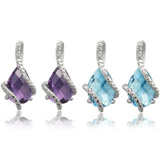 Dolce Giavonna Sterling Silver Gemstone and Diamond Accent Teardrop Earrings