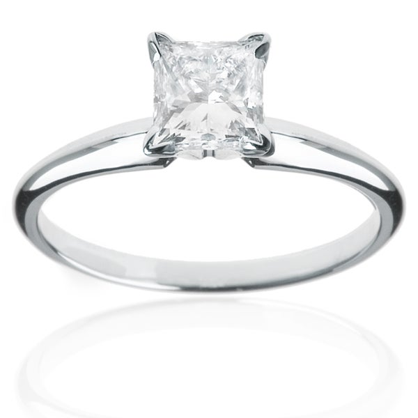 14kt White Gold 1ct TDW Solitaire Princess-cut Engagement Ring (H-I, I2-I3)