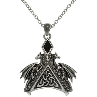 CGC Pewter Enamel and Crystal Dragon Necklace