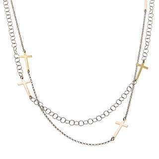 La Preciosa Sterling Silver 24-Inch or 48-Inch Tri-Tone Sideways Cross Necklace