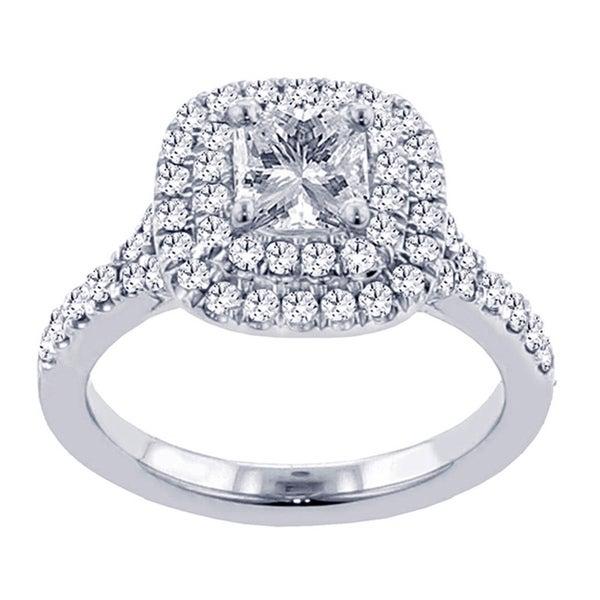 14k White Gold 2 Ct TW Micro Pave Set Princess Cut Halo Engagement Ring