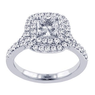 14k White Gold 2 Ct TW Micro Pave Set Princess Cut Halo Engagement Ring