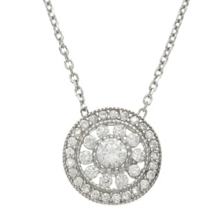 La Preciosa Sterling Silver CZ Circle Necklace