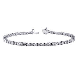 14k White Gold 4.00ct 4-prong Brilliant Cut Diamond Tennis Bracelet (FG-SI1)