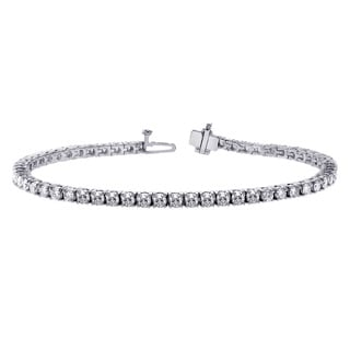 14k White Gold 5ct 4-prong Brilliant Cut Diamond Tennis Bracelet (F-G, SI1)