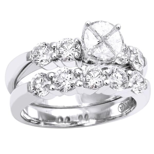 Beverly Hills Charm 14k White Gold 2 1/6ct TDW Diamond Bridal Ring Set (H-I, SI1-SI2)