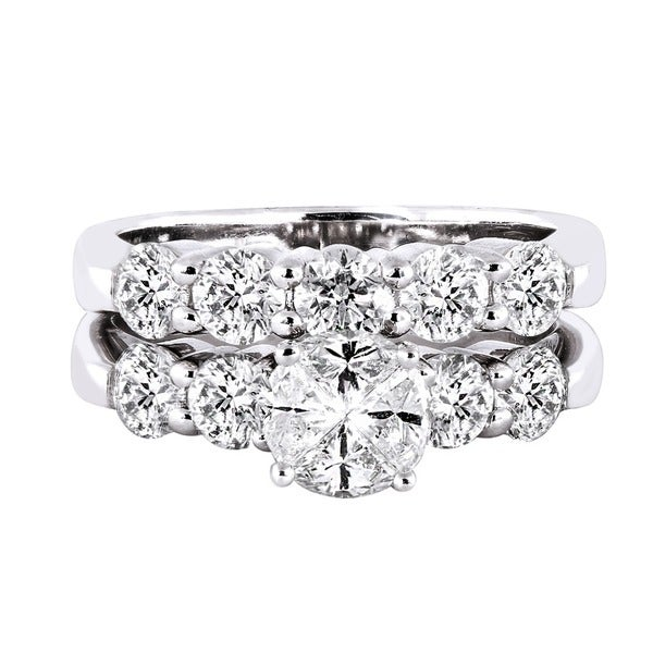 Beverly Hills Charm Quortia Collection 14k White Gold 2 1/6ct TDW Diamond Bridal Ring Set (H-I, SI1-SI2)