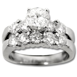Quortia Collection 14k White Gold 2 1/6ct TDW Diamond Bridal Ring Set (H-I, SI1-SI2)
