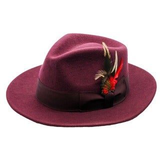 Ferrecci Men's Burgundy Wool Fedora Hat