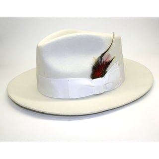 Ferrecci Men's Off White Wool Fedora Hat