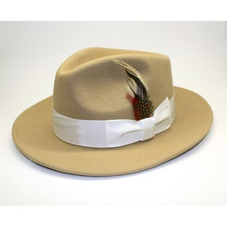Ferrecci Men's Tan Wool Fedora Hat