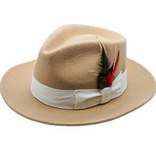 Ferrecci Men's Tan Wool Fedora Hat