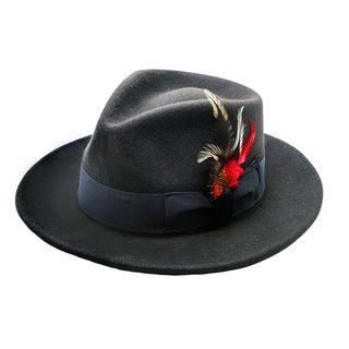 Ferrecci Men's Charcoal 100 Percent Wool Fedora Hat