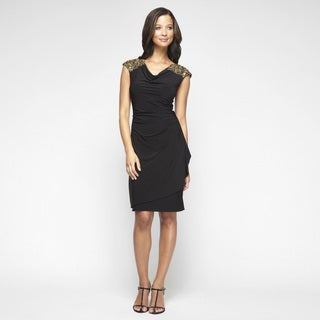 Alex Evenings Women's Black Matte Jersey Beaded Cap Sleeve Dress
