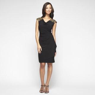 Alex Evenings Women's Black Matte Jersey Beaded Cap Sleeve Dress