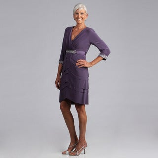 Alex Evenings Women's Dusty Purple Tulip Tiered Dress