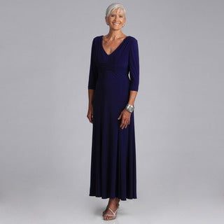 Alex Evenings 3/4-sleeve V-neck Pleated Empire Waist Long Dress
