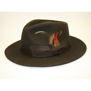 Ferrecci Men's Brown Coffee Wool Fedora Hat