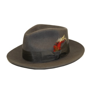 Ferrecci Men's Charcoal Wool Fedora Hat with Satin Lining