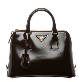 Prada 'Spazzolato Promenade' Mini Black Patent Leather Satchel