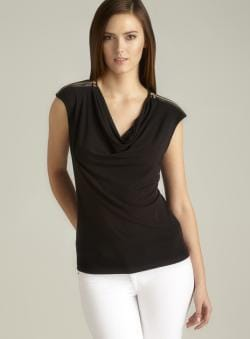 Calvin Klein Draped Neck Zipper Shoulder Top