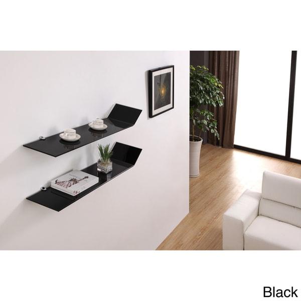 Gravity Modern Glass Shelves (Set of 2)