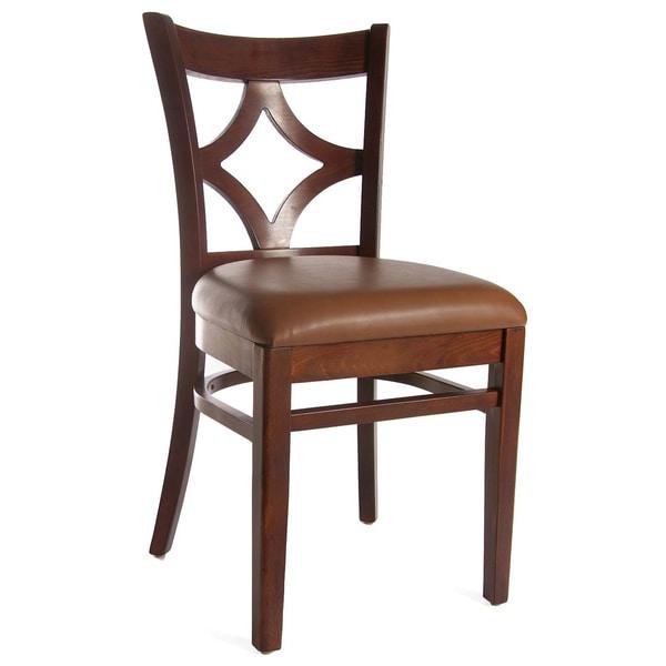 Medium Oak and Leatherette Diamond Back Side Chairs (Set of 2)