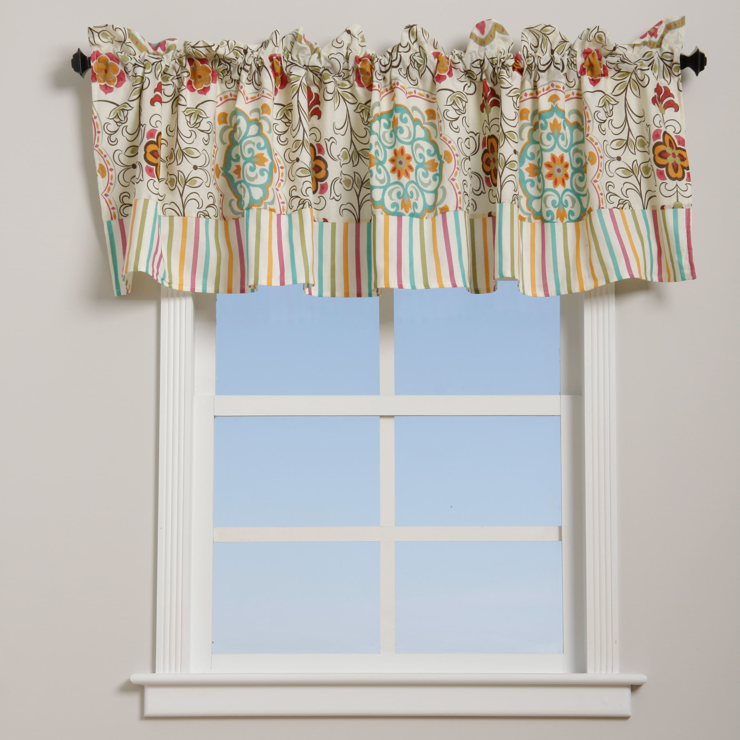 Esprit Spice Floral and Striped Cotton Window Valance at Sears.com