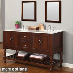 60-inch Dark Brown Double Sink Mission Marble Top Vanity