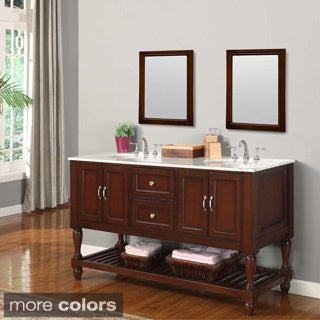 Direct. Vanity Sink 60-inch Mission Turnleg Dark Brown Double Sink Vanity