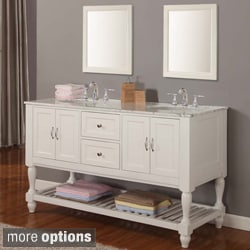 60-inch Pearl White Mission Turnleg Double Sink Vanity