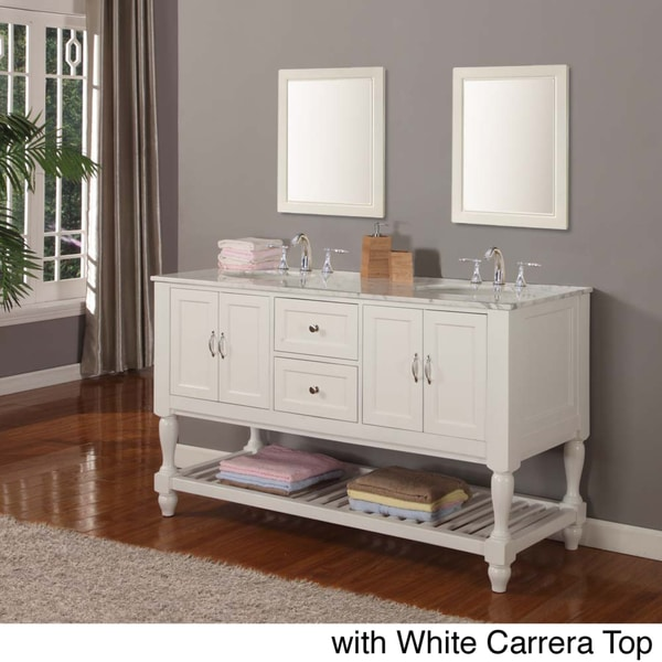 Direct vanity 60 inch pearl white mission turnleg double sink vanity overstock shopping for 54 inch double sink bathroom vanity