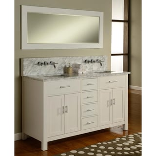 63-inch Hutton Pearl White and Marble Double Sink Bathroom Vanity Console