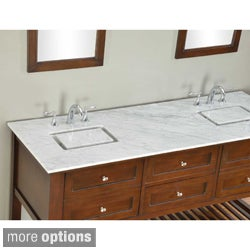 70-inch Dark Brown Mission Spa Double Vanity Sink Cabinet