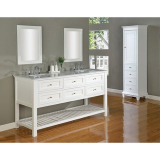 Direct Vanity 70-inch Pearl White Mission Spa Double Vanity Sink Cabinet