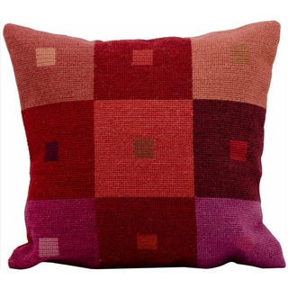 Mina Victory Contemporary Needlepoint Red 18 x 18-inch Decorative Pillow by Nourison