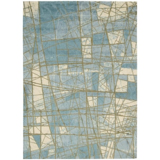 Luxor Abstract Mosaic Blue Rug (2' x 3'4)