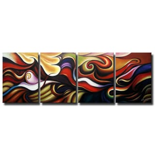 'Abstract 416' 4-piece Gallery-wrapped Hand Painted Canvas Art Set