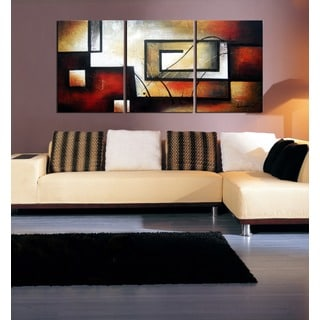 'Abstract 418' 3-piece Gallery-wrapped Hand Painted Canvas Art Set