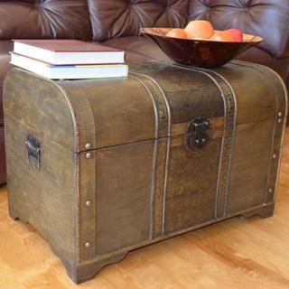 Old Fashioned Walnut Large Treasure Chest Wood Trunk - Walnut Brown