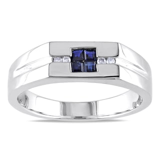 Miadora Men's Sterling Silver Sapphire and White Diamond Ring