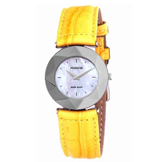 Jowissa Swiss Facet Women's Mother of Pearl Yellow Leather Watch