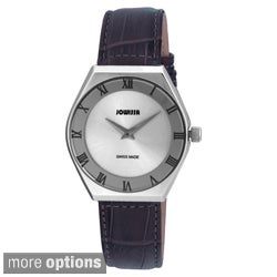 Jowissa Swiss Men's Costa Roman Numeral Stainless Steel Leather Watch