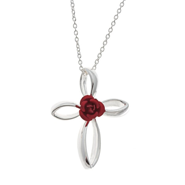 Sunstone Sterling Silver Red Rose Cross Necklace