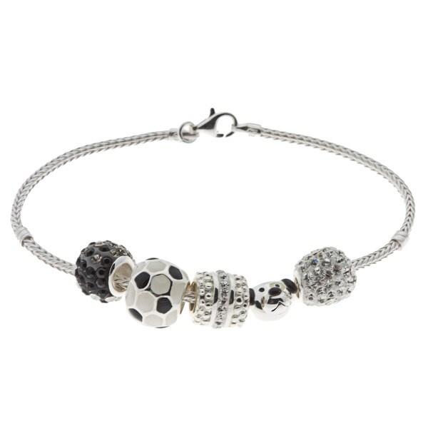 Sunstone Silver Overlay Black and White Bead Starter Charm Bracelet