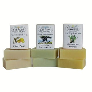 Citrus and Cypress Inspired Natural Handmade 3-bar Soap Trio